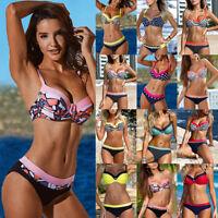 Women Swimwear Padded Bra Swimsuit Push-up Bikini Top Bottom Bathing Beachwear
