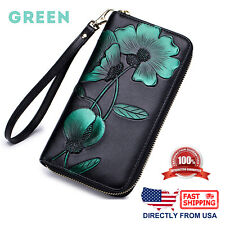 Women's RFID Block Genuine Leather Floral Print Large Capacity Clutch Wallet