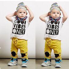 USA Newborn Toddler Infant Kids Boy T-shirt Tops+Long Pant Outfits Set Clothes