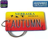 Personalized Nebraska State License Plate Keychain Tag - Any Name - Vintage