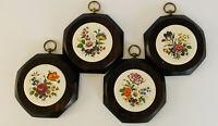 Vintage Mid Century Modern Pine Hanging Wall Plaques Ceramic Floral Boho