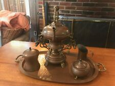 Antique Copper Tea Set, Russian Samovar, Stamped Tray
