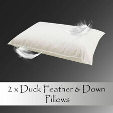 2 X Luxury Duck Feather & Down Pillow Comfortable Extra Filling Hotel Quality