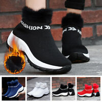 Women Sock Fur Lined Snow Ankle Boots Winter Warm Casual Knitted Trainers Shoes