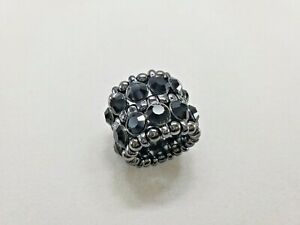 Black Rhinestone Gunmetal Wide Stretch Elastic Cocktail Statement Ring
