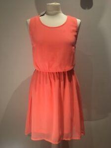Damen Kleid koralle neon orange Gr 36 NEU mit Schild von H&M Sommer Party