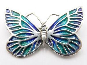Sterling silver enamel butterfly brooch by Norman Grant Dust Jewellery