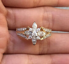 1cttw Natural Marquise Round Diamond 14k Gold Engagment Anniversary Ring