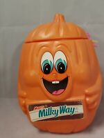 Mars Milky Way Halloween Pumpkin Candy Pail Container Vintage Blow Mold 1990