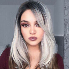 """Ombre Wig 18"""" Rose Net Short Straight Synthetic Gray Cosplay Sexy Full Wigs"""