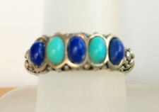Turquoise/Lapis Band Sterling Silver Ring Sz 8