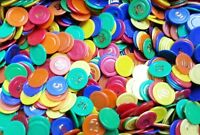 BAGS OF NUMBERED POKER CHIPS / TOKENS - DRINKS VOUCHERS