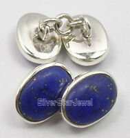 925 Sterling Silver Men's Cufflinks,Natural Gemstones Anniversary Gift Brand New