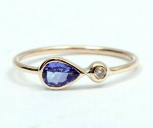 18k Solid Gold Tanzanite and Diamond Ring Stacking Ring Dainty Ring Gift for her