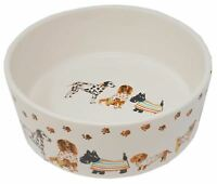 DOGS IN COATS CREAM PET DISH BOWL FOOD WATER 20CM x 7CM