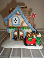 Party Lite ceramic Holiday candle holder Santa's work shop IOB