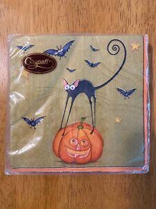 Caspari Bat Cat Gold Halloween Paper Cocktail Napkins ~ NEW 20/pack
