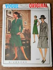 "VTG 70s VOGUE PARIS ORIGINAL GIVENCHY Sewing Pattern 2587 14/36"", 38"" UNCUT OOP"