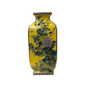 Chinese Square Yellow Rich Multi-Color Print Graphic Porcelain Vase ws1468