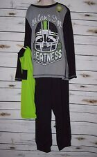 Boys Pajamas PJs Medium 10/12 Three Piece Set Sleepwear Bedtime Football NWT