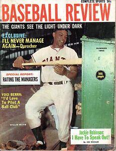 1962 Baseball Review magazine Willie Mays, San Francisco Giants, Yogi Berra POOR