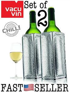 Set Of 2 Vacu Vin Bottle Active Wine Cooler Chiller Sleeve Silver Quick Coolling