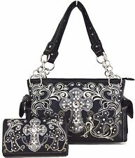 Western Cowgirl Cross Rhinestone Purse Handbag Shoulder Bag Messenger Wallet Set