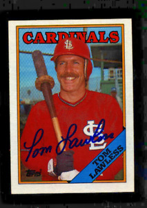 TOM LAWLESS  Autograph 1988 Topps--St. Louis Cardinals