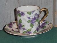 Vintage Inarco, Small Cup and Saucer, Violet Flowers & White & Gold Trim..1950's