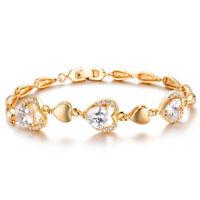 18K feine Goldkette Armreifen Damen Schmuck Armkette Diamant Herzen vergoldet