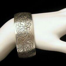 KIRK PEWTER Vintage Wide Cuff Bangle Bracelet Rose Flower June Birthday GIFT BOX
