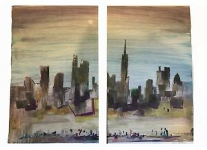 "Morris Yudelson – Original Diptych Painting / ""City At Large"" – 1984"