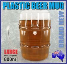 NEW 800ml PLASTIC BEER MUG STEIN TANKARD WITH HANDLE HOME BAR GREAT GIFT
