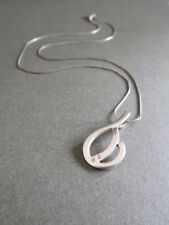Vintage Silver With Diamond Modernist Pendant Necklace Gift Box Included