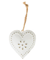 Sass & Belle Shabby Chic Vintage Rustic Metal White Heart Hanging Decoration