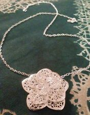 STERLING SILVER NECKLACE 925 Flower Pendant with Lobster Clasp Chain US SHIPPED