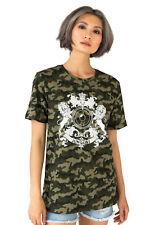 Junglist Crest Camo T Shirt DJ Drum & Bass Camouflage Womens Music Festival Tee