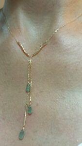 14k yellow gold twist gold lariat dangle tear drop Zambian Emerald necklace