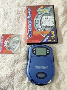 VideoNow Personal Video Player  Blue 2003 Hasbro With 4 Spongebob disks TESTED