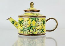 Charlotte Di Vita Miniature Enamel Bamboo Teapot Boxed Trade + Aid Hand Paint