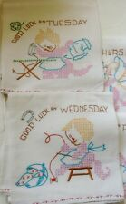 VINTAGE 7 DAYS OF THE WEEK EMBROIDERED TOWELS WITH CLEANING KITTENS CATS