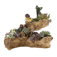 Resin Artificial Twisted Driftwood Planter Flower Pot Sculpture Succulent Plante