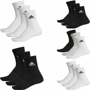 Adidas Mens Womens 3 Pairs Pack Socks Cushioned Crew Socks Black White Multi