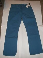 NEW DC SHOES teal turquoise blue denim jeans straight leg  sz 28 x 28  FAIRFAX