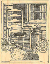 Country Porch Rocking Chair Wood Mounted Rubber Stamp Impression Obsession H1857