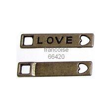 5 pcs PERLES CONNECTEUR ENTRE DEUX LOVE 21.5X4.5mm / APPRETS CREAT BIJOUX #A400