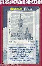 TESSERA FILATELICA FRANCOBOLLO MILLENARIO CAMPANILE DI TREVIGLIO BG 2008 M47