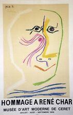 """""""EXPO HOMMAGE à René CHAR / PICASSO 1969"""" Affiche originale entoilée (3000 ex.)"""