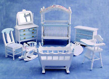 1:12 Scale 8 Piece Blue & White Nursery Set Dolls House Miniature Bed Room 899B