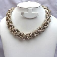 Gold Braided Crysta Swarovski Element Stardust Necklace Choker Magnetic closure